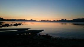 заход солнца Норвегии Стоковая Фотография RF