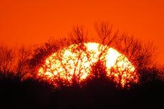 Заход солнца огня для Brooklyn Heights Стоковое Фото