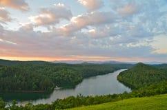 Заход солнца озера гор Стоковое Фото