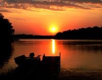 Заход солнца озера Минесот Стоковые Изображения RF