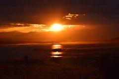 Заход солнца озера скалистая гор Стоковые Фотографии RF