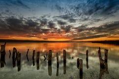 Заход солнца озера Стоковая Фотография