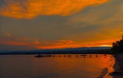 Заход солнца озера Leman Стоковые Фото