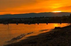 Заход солнца озера Leman lausanne Швейцария Стоковая Фотография