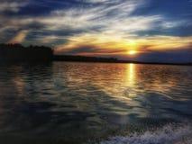 Заход солнца озера MH Стоковые Изображения