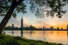 Заход солнца озера Xuanwu Стоковое Изображение RF