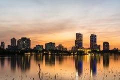 Заход солнца озера Xuanwu Стоковые Изображения