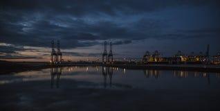 Заход солнца доков Стоковая Фотография