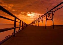 Заход солнца около маяка Стоковое Изображение