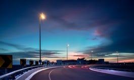 Заход солнца около международного аэропорта 2 Куалаа-Лумпур стоковое изображение