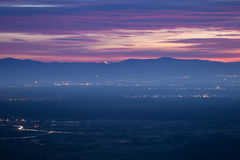 Заход солнца около Фрайбурга, Германии Стоковые Изображения RF