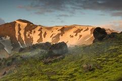 Заход солнца около Landmannalaugar Стоковая Фотография RF