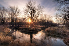 Заход солнца осени на реке Стоковое фото RF