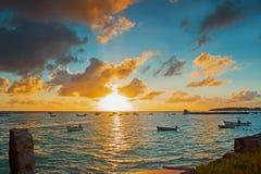 Заход солнца осмотренный от Oistins в Барбадос Стоковое фото RF