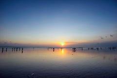 Заход солнца острова Бали, kuta Стоковая Фотография RF