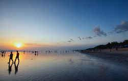 Заход солнца острова Бали, kuta Стоковое Фото