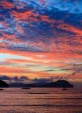 заход солнца острова тропический Стоковое Изображение