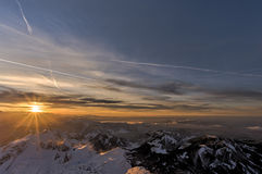 Заход солнца от вершины Saentis Стоковая Фотография RF