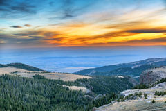 Заход солнца от гор Bighorn Стоковое Изображение