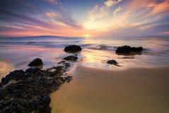 Заход солнца от Мауи, Гаваи Стоковые Изображения RF