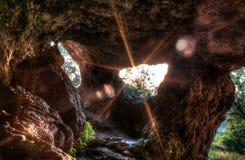 Заход солнца от пещеры Стоковые Фотографии RF