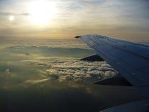 Заход солнца от плоскости Стоковое Изображение