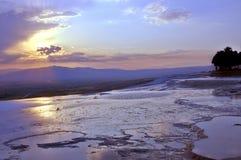 Заход солнца от Hierapolis, Pamukkale, Denizli, Турции Стоковое фото RF