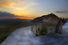 Заход солнца от Hierapolis, Pamukkale, Denizli, Турции Стоковые Фото
