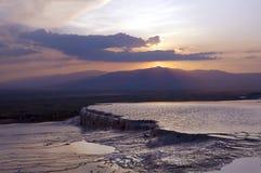 Заход солнца от Hierapolis, Pamukkale, Denizli, Турции Стоковая Фотография
