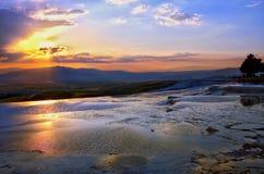Заход солнца от Hierapolis, Pamukkale, Denizli, Турции Стоковые Изображения RF