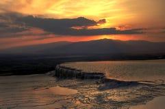 Заход солнца от Hierapolis, Pamukkale, Denizli, Турции Стоковые Изображения