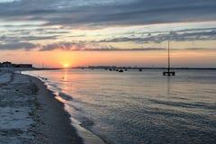 Заход солнца от Rockaways, ферзи, NY Стоковые Фото