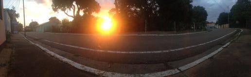 Заход солнца панорамы Стоковое фото RF