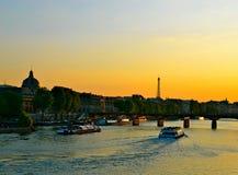 Заход солнца Парижа Стоковое Фото