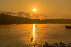 Заход солнца парусника Стоковая Фотография RF