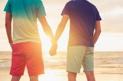 Заход солнца пар гомосексуалиста наблюдая