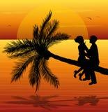 заход солнца пар любящий Стоковое Фото