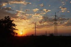 заход солнца пасмурного неба Стоковое Изображение RF