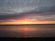 Заход солнца падения над островом Мичиганом Grosse Стоковая Фотография