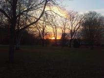 Заход солнца падения Farmyard Стоковое фото RF