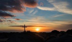 Заход солнца песчанных дюн перекрестный Стоковые Изображения