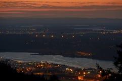 Заход солнца Портленда промышленный Стоковое Фото