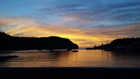 Заход солнца Порт de Soller Стоковое фото RF