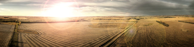 Заход солнца прерии осени Стоковая Фотография