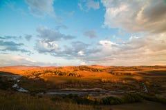 Заход солнца прерии Стоковое фото RF