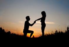 Заход солнца предложения руки и сердца Стоковое Изображение RF