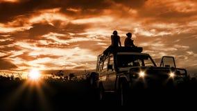 Заход солнца приключения Стоковая Фотография