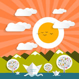 Заход солнца - природа ландшафта вектора восхода солнца бесплатная иллюстрация