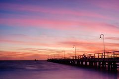 Заход солнца пристани лагуны Стоковое Фото