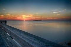 Заход солнца пристани рыбной ловли Стоковое Изображение